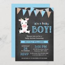 Chalkboard Cow Boy Baby Shower Invitation