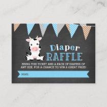 Chalkboard Cow Boy Diaper Raffle Ticket Enclosure Card