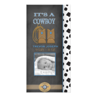 Chalkboard Cowboy Baby Announcement Custom Photo Card