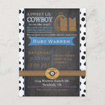 Chalkboard Cowboy Baby Shower Invitation