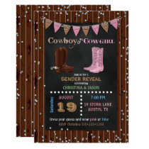Chalkboard Cowboy or Cowgirl Western Gender Reveal Invitation
