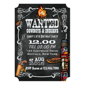 Chalkboard Cowboys & Indians Theme Party Invite