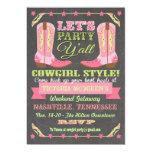 Chalkboard Cowgirl Bachelorette Weekend Getaway 5x7 Paper Invitation Card