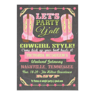 "Chalkboard Cowgirl Bachelorette Weekend Getaway 5"" X 7"" Invitation Card"