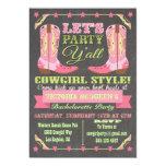 Chalkboard Cowgirl Western Bachelorette Party Card