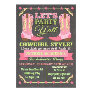 Chalkboard Cowgirl Western Bachelorette Party Personalized Announcement