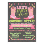 Chalkboard Cowgirl Western Bachelorette Party 5x7 Paper Invitation Card