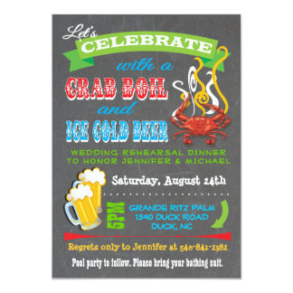 Chalkboard Crab Boil Party Invitations