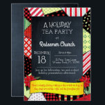 """Chalkboard Crazy Quilt Holiday Party Invitation<br><div class=""""desc"""">This casual chic invitation is perfect for any holiday occasion. Each item is fully customizable to say just what you want. Great for a Christmas Party,  Holiday Celebration,  Gift Exchange or Holiday Tea.</div>"""