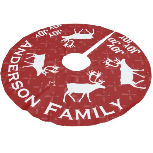 Chalkboard Crossed Arrow Reindeer Christmas Brushed Polyester Tree Skirt