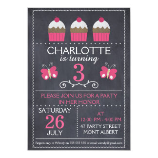 Chalkboard Cupcakes Birthday Party Invitation