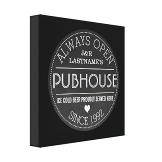 Chalkboard Custom Couple Pubhouse with Wedding Yr Canvas Print