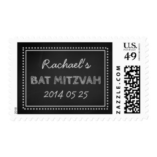 Chalkboard Custom Name Bat Mitzvah Stamps