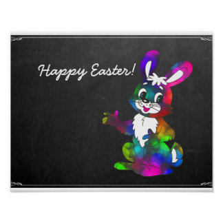 Chalkboard Cute Colorful Happy Easter Bunny Poster