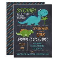 Chalkboard Cute Dinosaurs Birthday Invitation