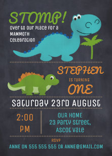 dinosaur birthday invitations zazzle