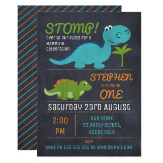 Chalkboard Cute Dinosaurs Birthday Invitation