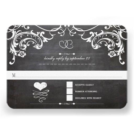 Chalkboard Cute Heart Initials Typography RSVP Invitation