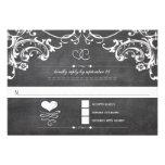 Chalkboard Cute Heart Initials Typography RSVP Custom Announcement