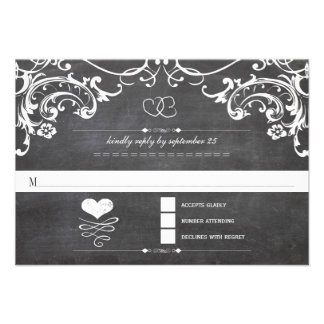 Chalkboard Cute Heart Initials Typography RSVP Custom Announcement