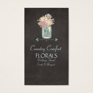 Chalkboard Daisies Roses Rustic Mason Jar Floral Business Card