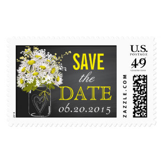 Chalkboard Daisy Bouquet Mason Jar Save the Date Postage Stamps