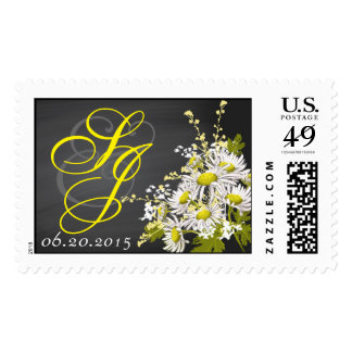 Chalkboard Daisy Bouquet Wedding Postage
