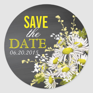 Chalkboard Daisy Rustic Save the Date Label