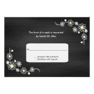 Chalkboard Daisy Wedding RSVP Response Cards