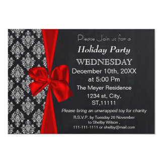 Chalkboard damask red bow Holiday party Invitation