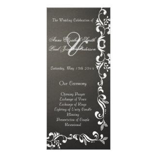 Chalkboard damask wedding programs full color rack card