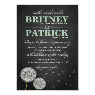 "Chalkboard Dandelion Vintage Wedding Invitations 4.5"" X 6.25"" Invitation Card"