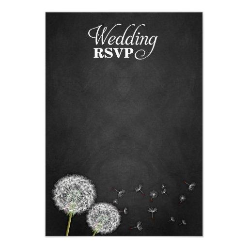 Chalkboard Dandelion Vintage Wedding RSVP Cards