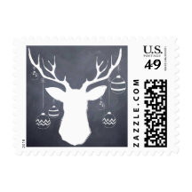 Chalkboard deer antlers with holiday ornaments stamp