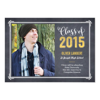 "Chalkboard Delight Graduation Announcement Golden 5"" X 7"" Invitation Card"
