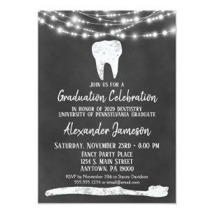 Chalkboard Dental Graduation Party Invitation