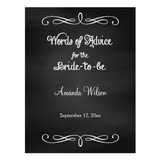 Chalkboard Design Bridal Shower Advice Cards Post Card