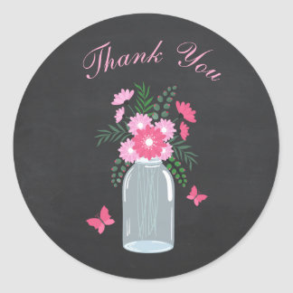 Chalkboard Design Floral Mason Jar Classic Round Sticker
