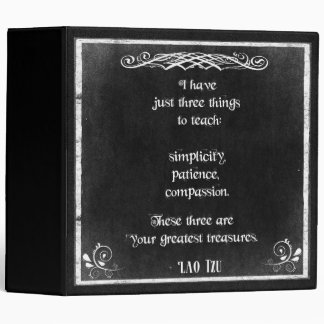 Chalkboard Design with Lao Tzu Inspirational Quote 3 Ring Binder