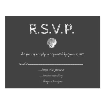Beach Themed Chalkboard destination wedding shell RSVP cards