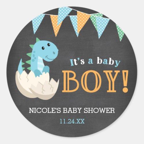 Chalkboard Dinosaur Boy Baby Shower Classic Round Sticker