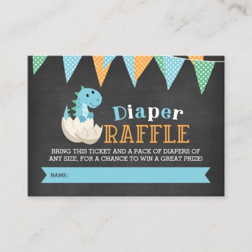 Chalkboard Dinosaur Boy Diaper Raffle Ticket Enclosure Card