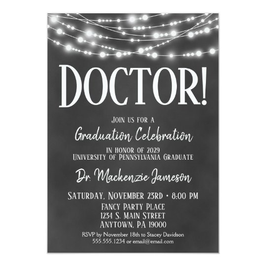 chalkboard doctor graduation party invitation
