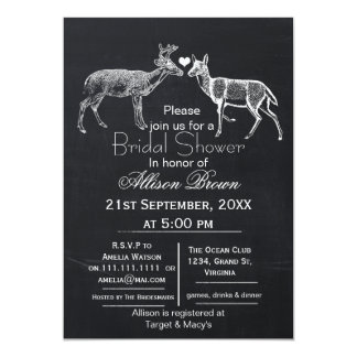 chalkboard doe and buck winter Bridal shower 5x7 Paper Invitation Card