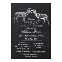 chalkboard doe and buck winter Bridal shower Card