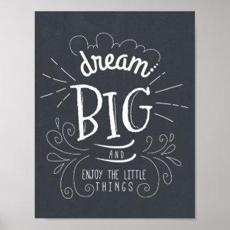 Chalkboard Dream Big Quote Art Print