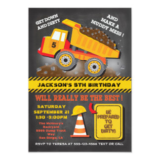 Chalkboard Dump Truck Construction Birthday Party Card