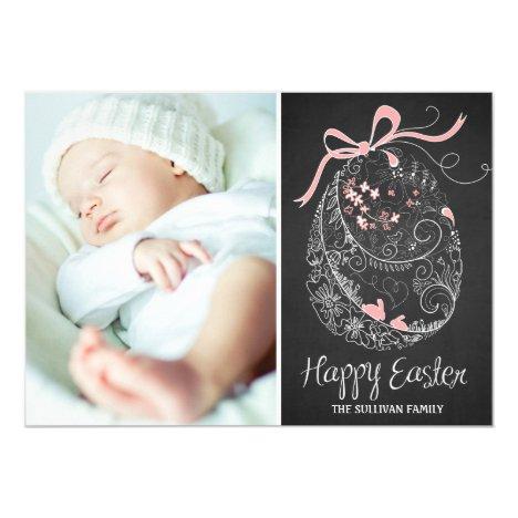 Chalkboard Easter Egg   Happy Easter Photo Card