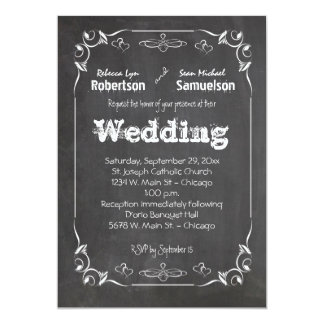 "Chalkboard Eat Drink And Be Married Wedding Invite 5"" X 7"" Invitation Card"