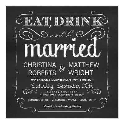 Eat Drink and be Married - Fun Wedding Invitation